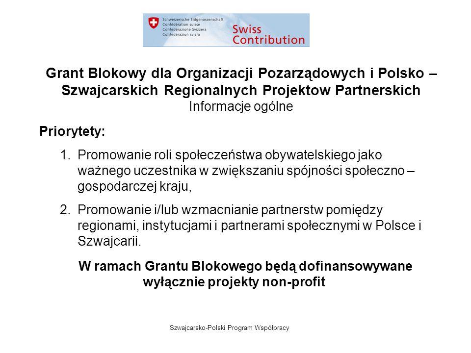 Szwajcarsko-Polski Program Współpracy Grant Blokowy dla Organizacji Pozarządowych i Polsko – Szwajcarskich Regionalnych Projektow Partnerskich Informacje ogólne Priorytety: 1.Promowanie roli społeczeństwa obywatelskiego jako ważnego uczestnika w zwiększaniu spójności społeczno – gospodarczej kraju, 2.Promowanie i/lub wzmacnianie partnerstw pomiędzy regionami, instytucjami i partnerami społecznymi w Polsce i Szwajcarii.