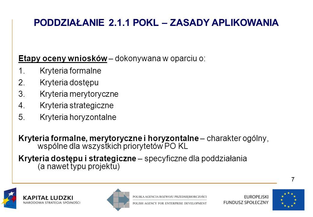 77 Etapy oceny wniosków – dokonywana w oparciu o: 1.