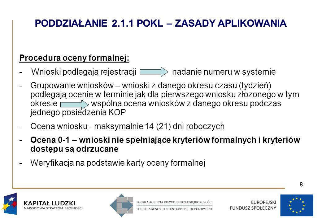 8 Procedura oceny formalnej: - Wnioski podlegają rejestracji nadanie numeru w systemie -Grupowanie wniosków – wnioski z danego okresu czasu (tydzień) podlegają ocenie w terminie jak dla pierwszego wniosku złożonego w tym okresie wspólna ocena wniosków z danego okresu podczas jednego posiedzenia KOP -Ocena wniosku - maksymalnie 14 (21) dni roboczych -Ocena 0-1 – wnioski nie spełniające kryteriów formalnych i kryteriów dostępu są odrzucane -Weryfikacja na podstawie karty oceny formalnej PODDZIAŁANIE 2.1.1 POKL – ZASADY APLIKOWANIA