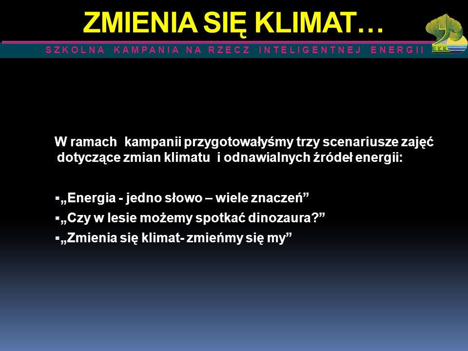 ZMIENIA SIĘ KLIMAT… W ramach kampanii przygotowałyśmy trzy scenariusze zajęć dotyczące zmian klimatu i odnawialnych źródeł energii: Energia - jedno sł