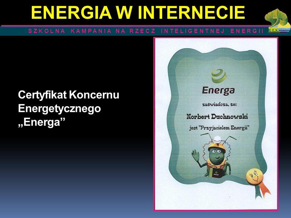 Certyfikat Koncernu Energetycznego Energa S Z K O L N A K A M P A N I A N A R Z E C Z I N T E L I G E N T N E J E N E R G I I ENERGIA W INTERNECIE