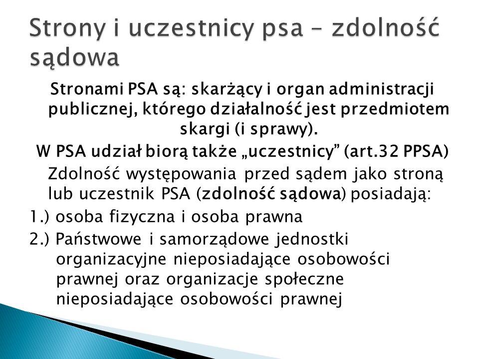 Stronami PSA są: skarżący i organ administracji publicznej, którego działalność jest przedmiotem skargi (i sprawy).