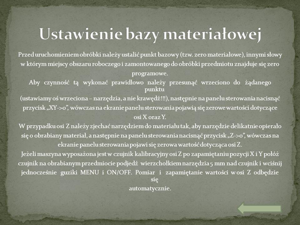 Przed uruchomieniem obróbki należy ustalić punkt bazowy (tzw. zero materiałowe), innymi słowy w którym miejscy obszaru roboczego i zamontowanego do ob