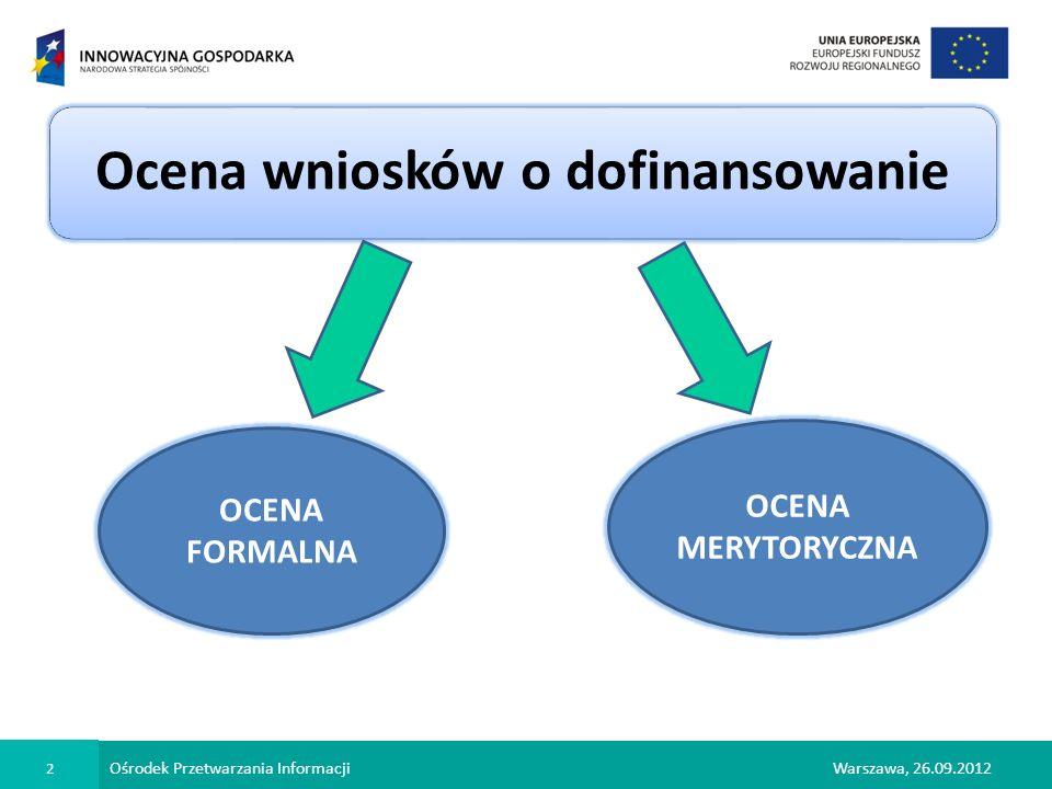 Ośrodek Przetwarzania Informacji 3 Warszawa, 26.09.2012 Ocena formalna ma dwa cele czy wniosek został złożony w terminie wskazanym przez OPI czy wniosek został złożony w ramach właściwego Poddziałania czy Wnioskodawca i projekt kwalifikują się do uzyskania wsparcia w danym Poddziałaniu SPRAWDZENIE czy wniosek i dokumentacja zostały wypełnione poprawnie czy zawierają wszystkie wymagane załączniki STWIERDZENIE