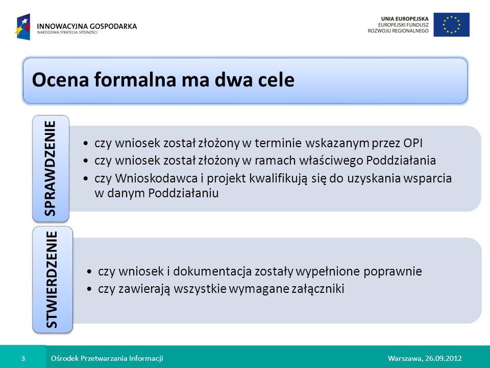 Ośrodek Przetwarzania Informacji 4 Warszawa, 26.09.2012 niespełnienie co najmniej jednego z kryterium powoduje odrzucenie wniosku niespełnienie co najmniej jednego z kryterium powoduje odrzucenie wniosku Ocena formalna to tzw.
