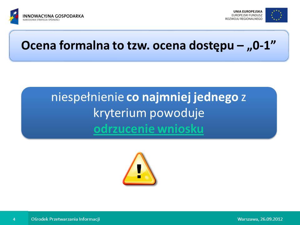 Ośrodek Przetwarzania Informacji 15 Warszawa, 26.09.2012 Kryteria merytoryczne – ocena punktowa c.d.
