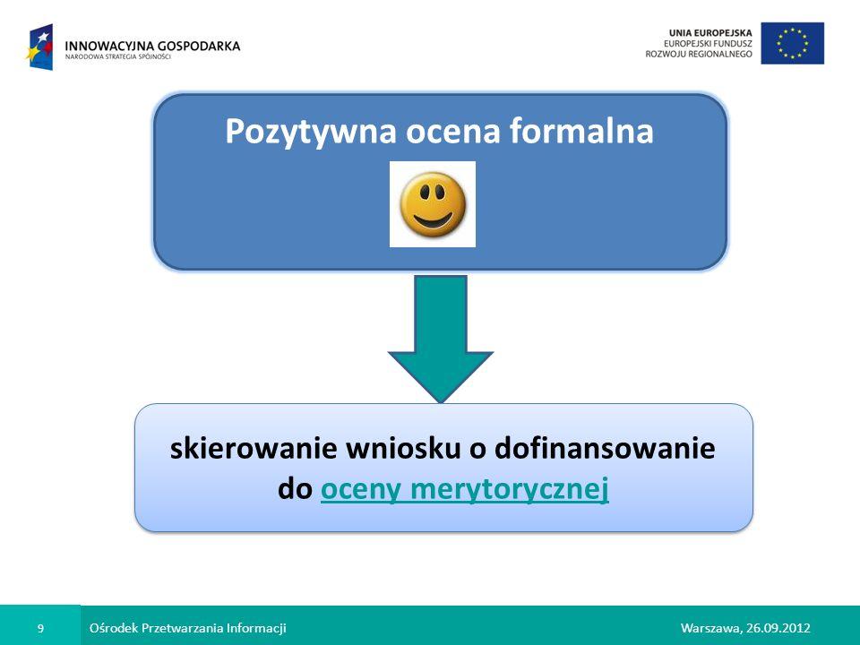 Ośrodek Przetwarzania Informacji 9 Warszawa, 26.09.2012 Pozytywna ocena formalna skierowanie wniosku o dofinansowanie do oceny merytorycznej skierowan