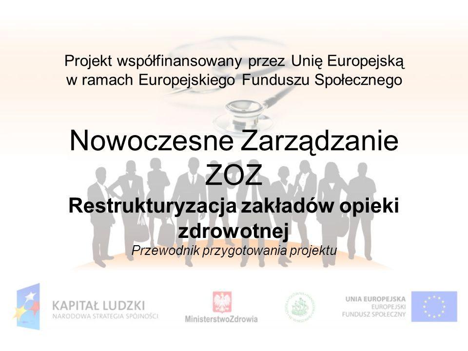 Projekt współfinansowany przez Unię Europejską w ramach Europejskiego Funduszu Społecznego Nowoczesne Zarządzanie ZOZ Restrukturyzacja zakładów opieki