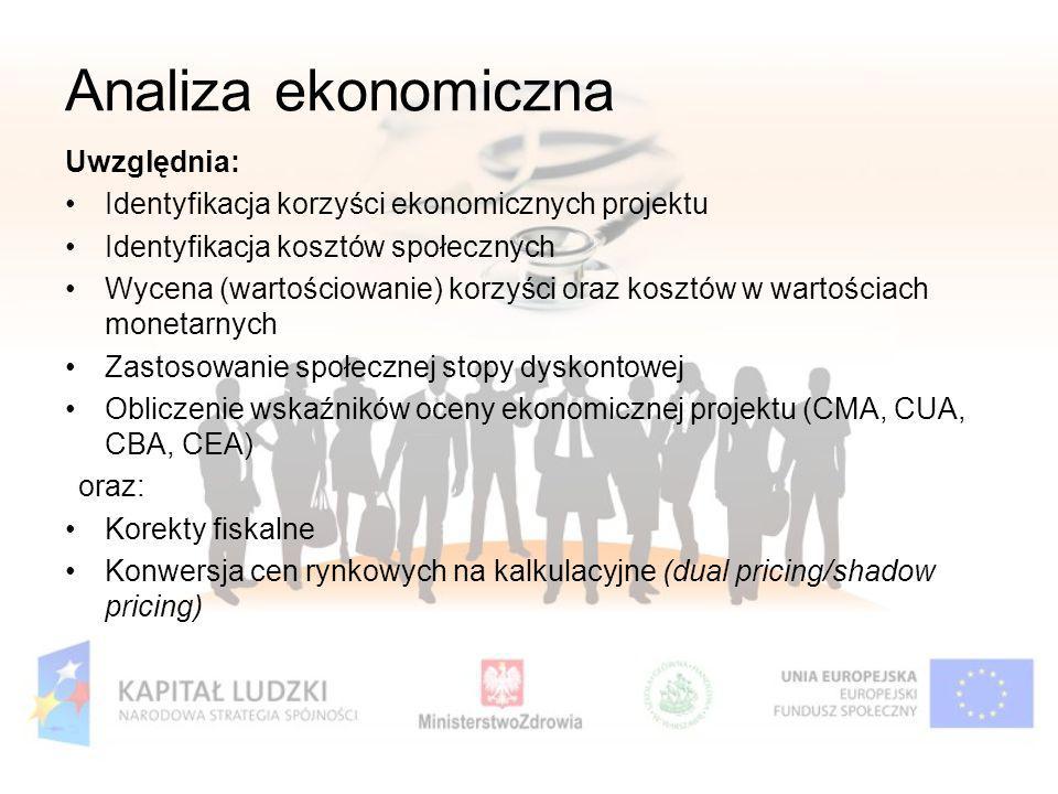 Uwzględnia: Identyfikacja korzyści ekonomicznych projektu Identyfikacja kosztów społecznych Wycena (wartościowanie) korzyści oraz kosztów w wartościac
