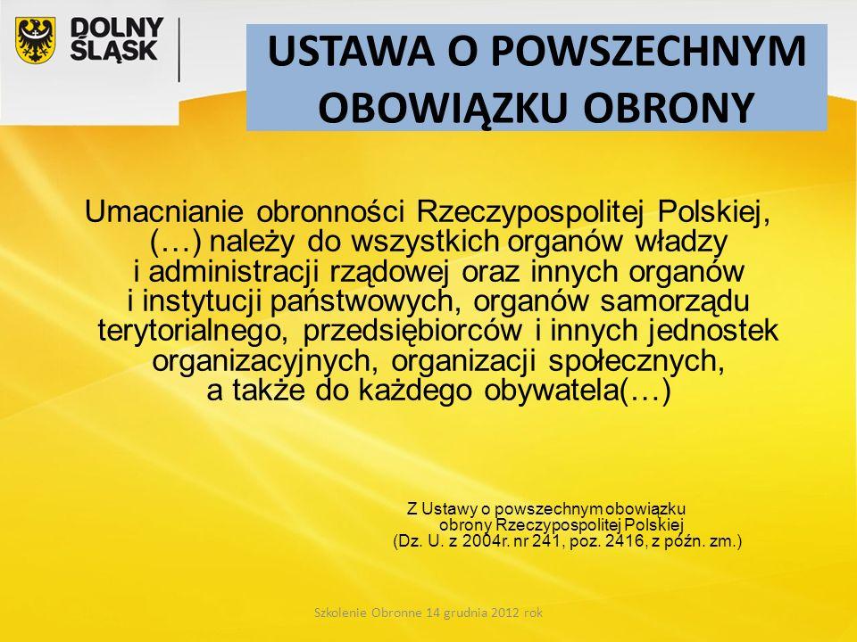 Szkolenie Obronne 14 grudnia 2012 rok Umacnianie obronności Rzeczypospolitej Polskiej, (…) należy do wszystkich organów władzy i administracji rządowe