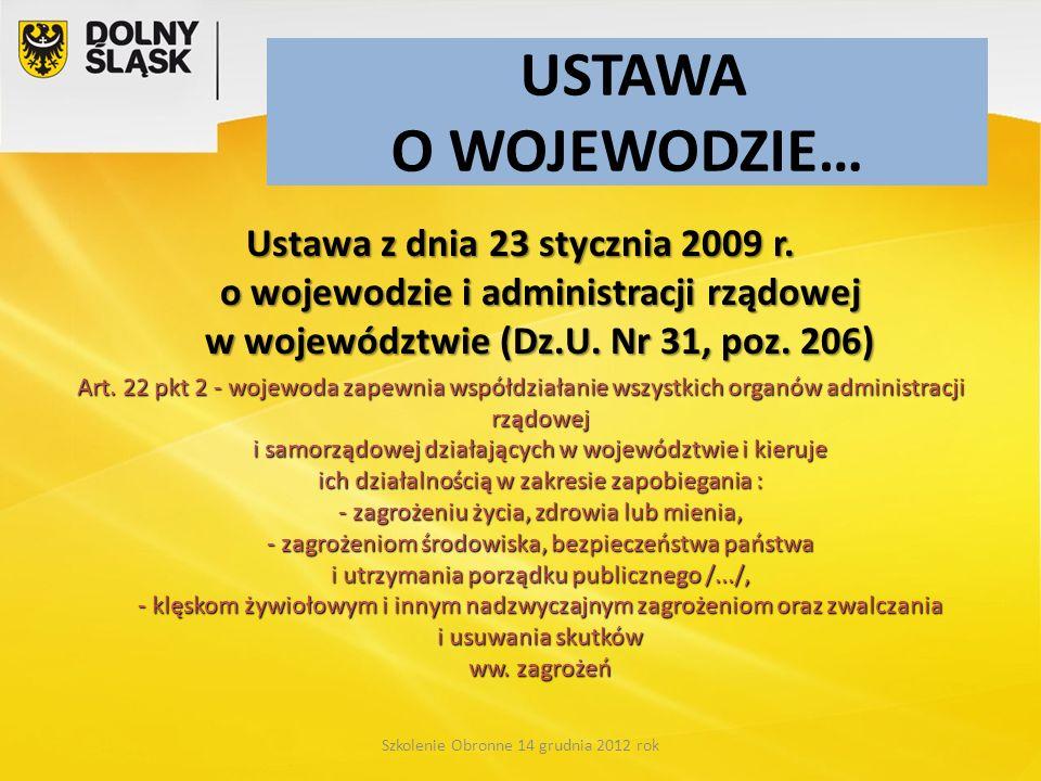 USTAWA O WOJEWODZIE… Ustawa z dnia 23 stycznia 2009 r. o wojewodzie i administracji rządowej w województwie (Dz.U. Nr 31, poz. 206) Art. 22 pkt 2 - wo