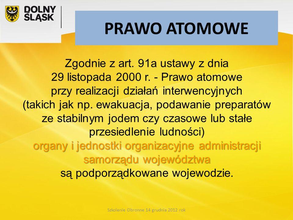 PRAWO ATOMOWE organy i jednostki organizacyjne administracji samorządu województwa Zgodnie z art. 91a ustawy z dnia 29 listopada 2000 r. - Prawo atomo