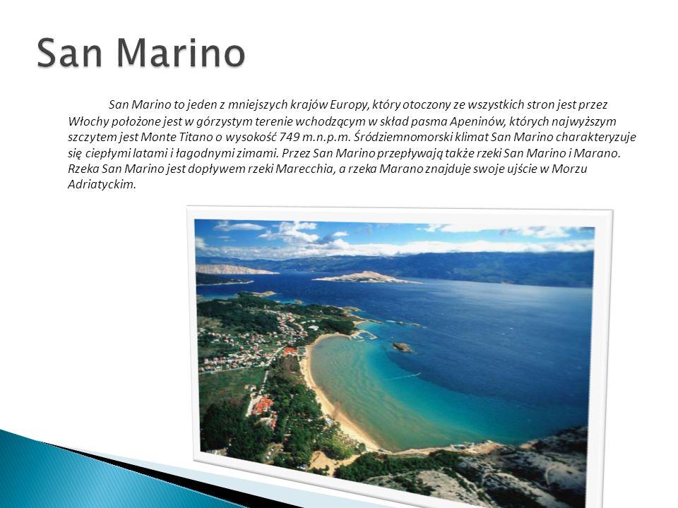 San Marino to jeden z mniejszych krajów Europy, który otoczony ze wszystkich stron jest przez Włochy położone jest w górzystym terenie wchodzącym w sk
