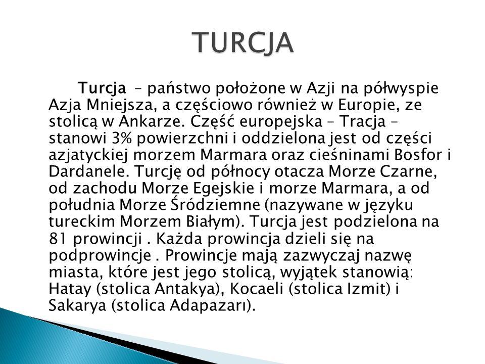 Turcja – państwo położone w Azji na półwyspie Azja Mniejsza, a częściowo również w Europie, ze stolicą w Ankarze. Część europejska – Tracja – stanowi