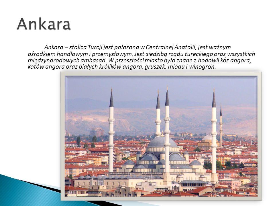 Ankara – stolica Turcji jest położona w Centralnej Anatolii, jest ważnym ośrodkiem handlowym i przemysłowym. Jest siedzibą rządu tureckiego oraz wszys