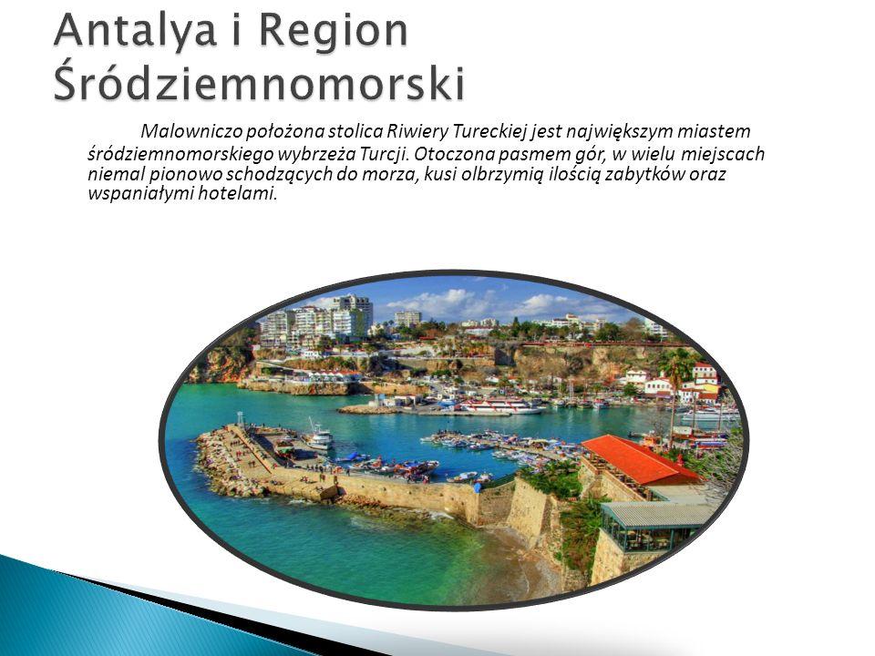 Malowniczo położona stolica Riwiery Tureckiej jest największym miastem śródziemnomorskiego wybrzeża Turcji. Otoczona pasmem gór, w wielu miejscach nie
