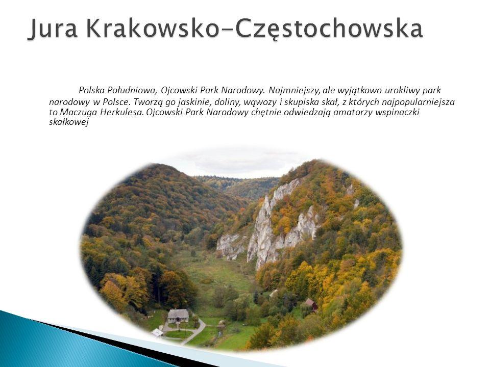 Polska Południowa, Ojcowski Park Narodowy. Najmniejszy, ale wyjątkowo urokliwy park narodowy w Polsce. Tworzą go jaskinie, doliny, wąwozy i skupiska s