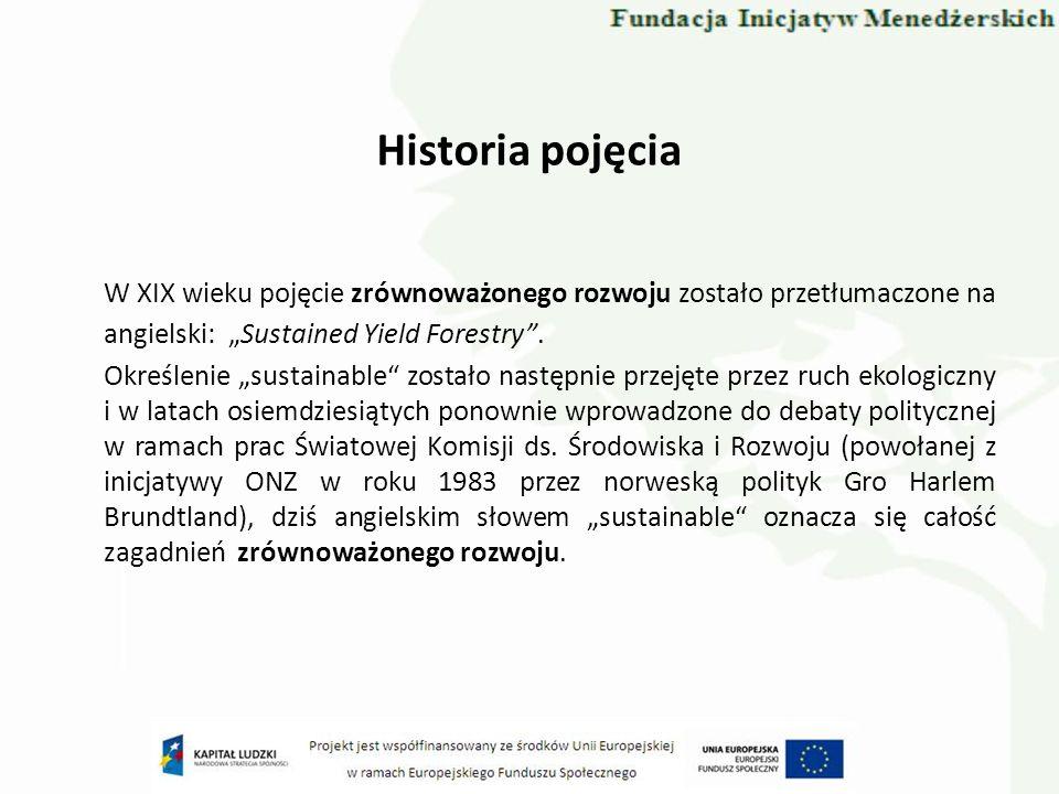 Historia pojęcia W XIX wieku pojęcie zrównoważonego rozwoju zostało przetłumaczone na angielski: Sustained Yield Forestry. Określenie sustainable zost