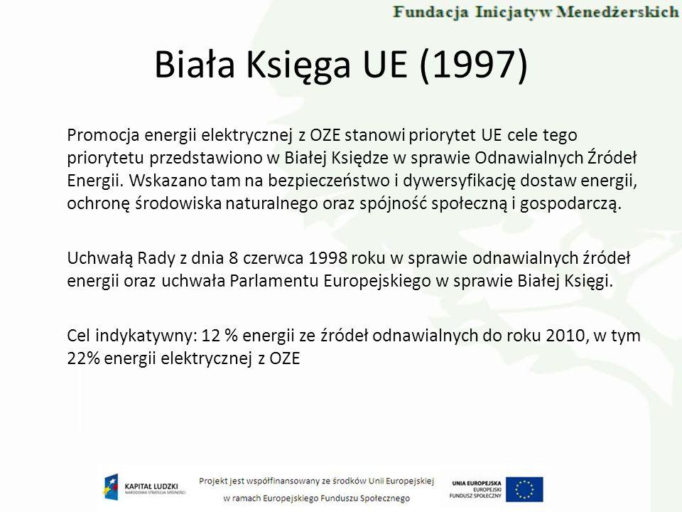 Biała Księga UE (1997) Promocja energii elektrycznej z OZE stanowi priorytet UE cele tego priorytetu przedstawiono w Białej Księdze w sprawie Odnawial