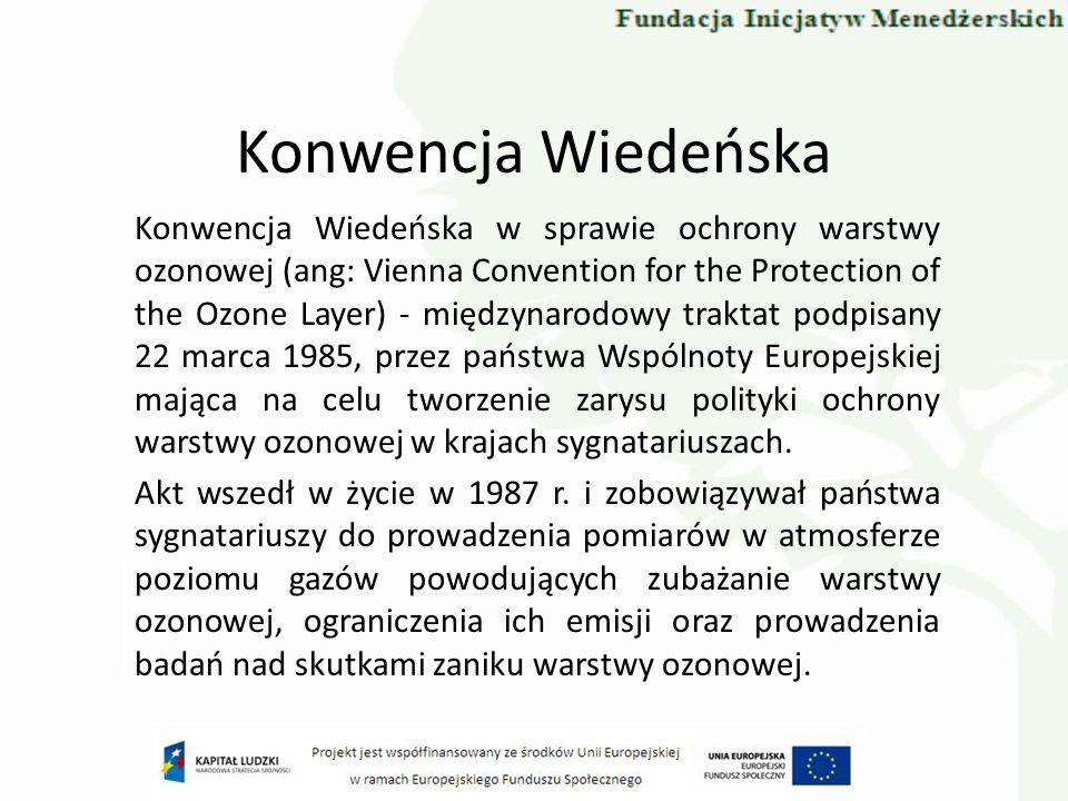 Konwencja Wiedeńska Konwencja Wiedeńska w sprawie ochrony warstwy ozonowej (ang: Vienna Convention for the Protection of the Ozone Layer) - międzynaro