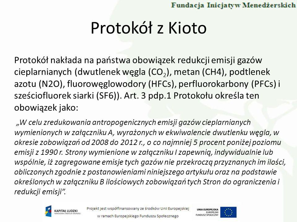 Protokół z Kioto Protokół nakłada na państwa obowiązek redukcji emisji gazów cieplarnianych (dwutlenek węgla (CO 2 ), metan (CH4), podtlenek azotu (N2