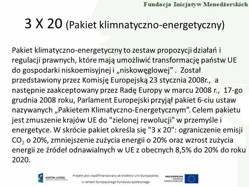 3 X 20 (Pakiet klimnatyczno-energetyczny) Pakiet klimatyczno-energetyczny to zestaw propozycji działań i regulacji prawnych, które mają umożliwić tran