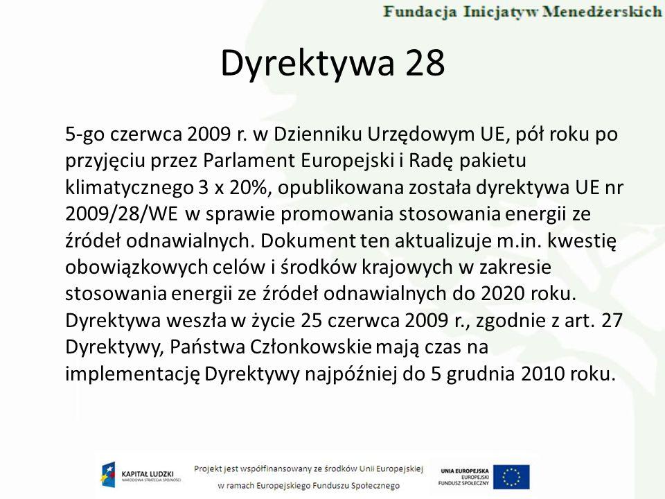Dyrektywa 28 5-go czerwca 2009 r. w Dzienniku Urzędowym UE, pół roku po przyjęciu przez Parlament Europejski i Radę pakietu klimatycznego 3 x 20%, opu