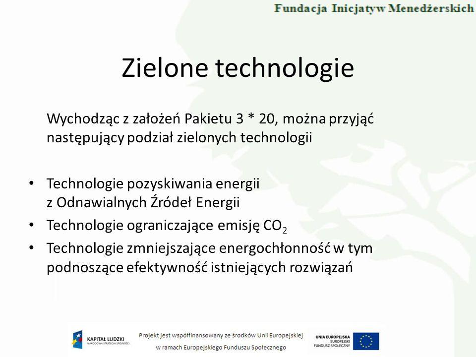 Zielone technologie Wychodząc z założeń Pakietu 3 * 20, można przyjąć następujący podział zielonych technologii Technologie pozyskiwania energii z Odn