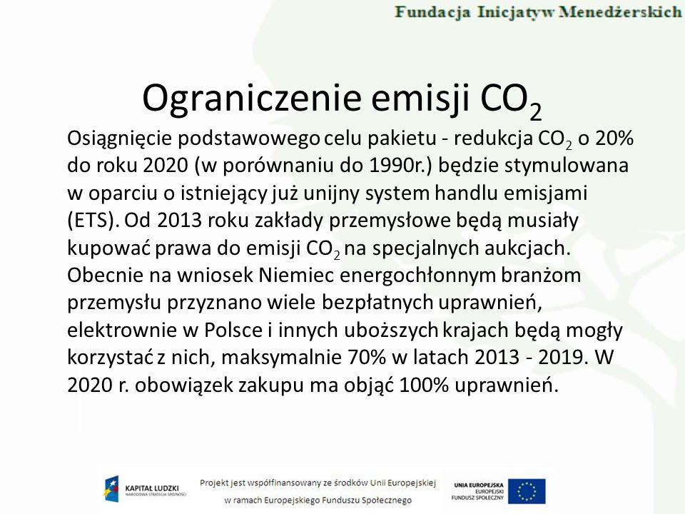 Ograniczenie emisji CO 2 Osiągnięcie podstawowego celu pakietu - redukcja CO 2 o 20% do roku 2020 (w porównaniu do 1990r.) będzie stymulowana w oparci