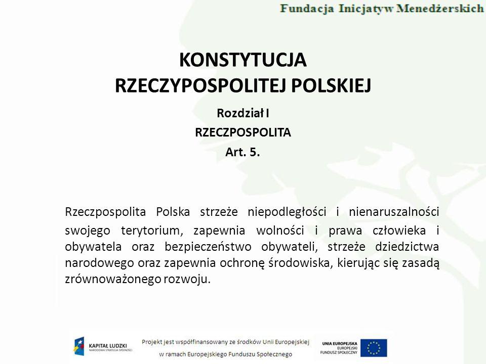 KONSTYTUCJA RZECZYPOSPOLITEJ POLSKIEJ Rozdział I RZECZPOSPOLITA Art. 5. Rzeczpospolita Polska strzeże niepodległości i nienaruszalności swojego teryto
