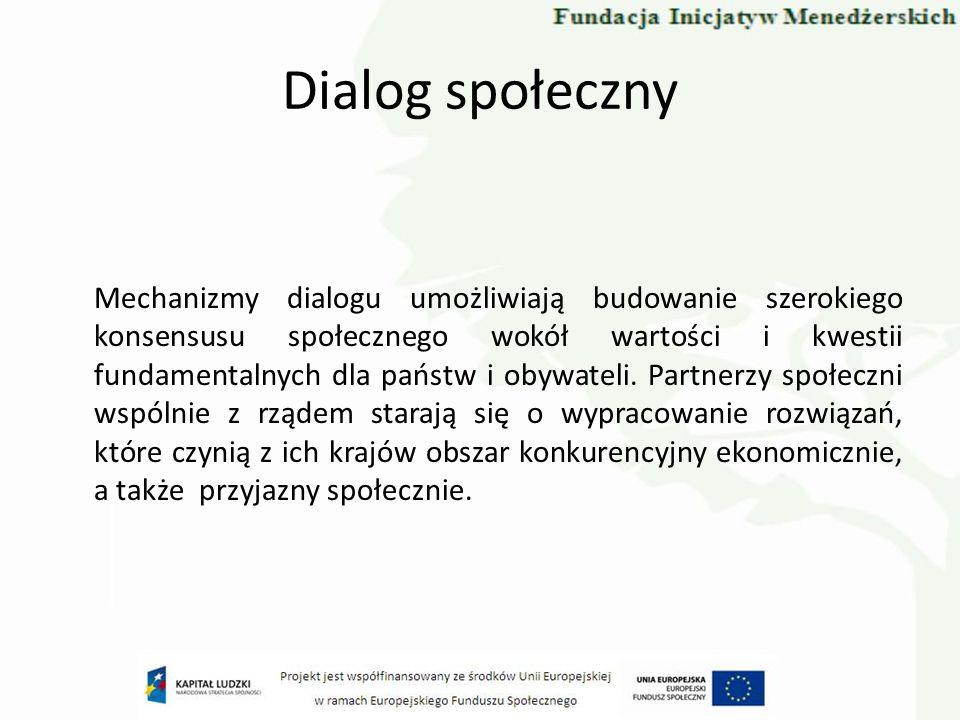 Dialog społeczny Mechanizmy dialogu umożliwiają budowanie szerokiego konsensusu społecznego wokół wartości i kwestii fundamentalnych dla państw i obyw