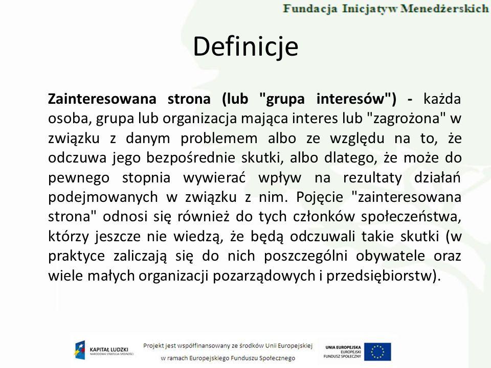 Definicje Zainteresowana strona (lub