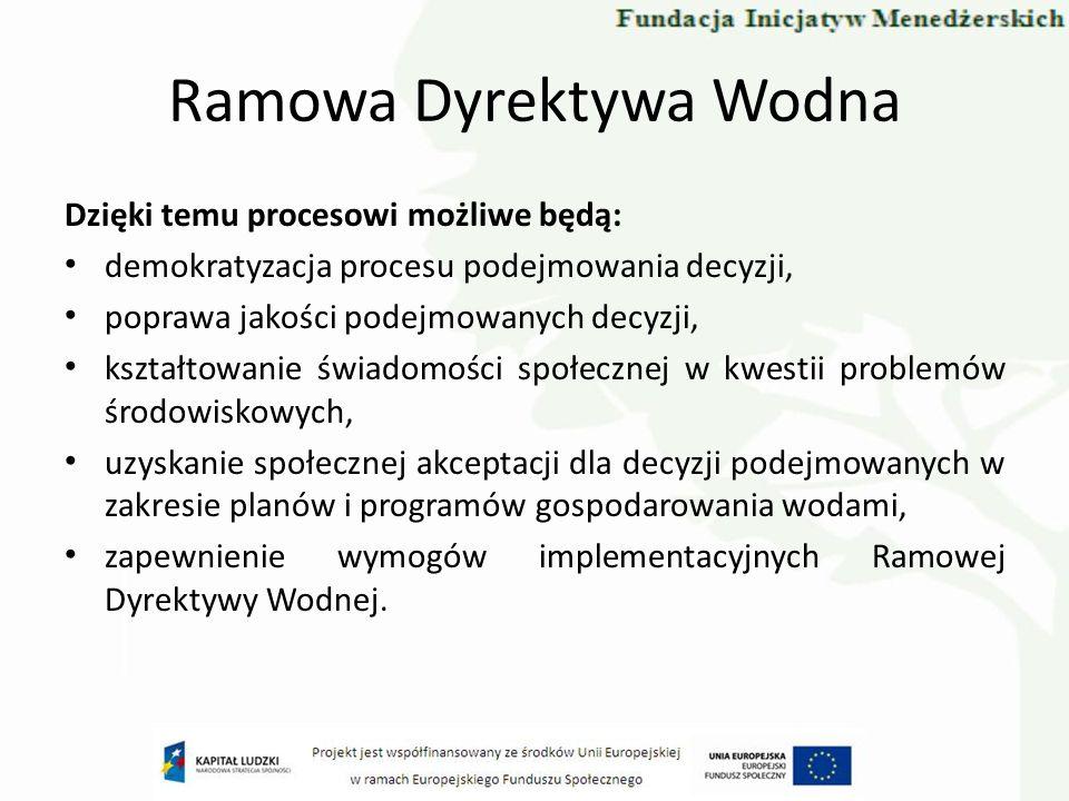 Ramowa Dyrektywa Wodna Dzięki temu procesowi możliwe będą: demokratyzacja procesu podejmowania decyzji, poprawa jakości podejmowanych decyzji, kształt