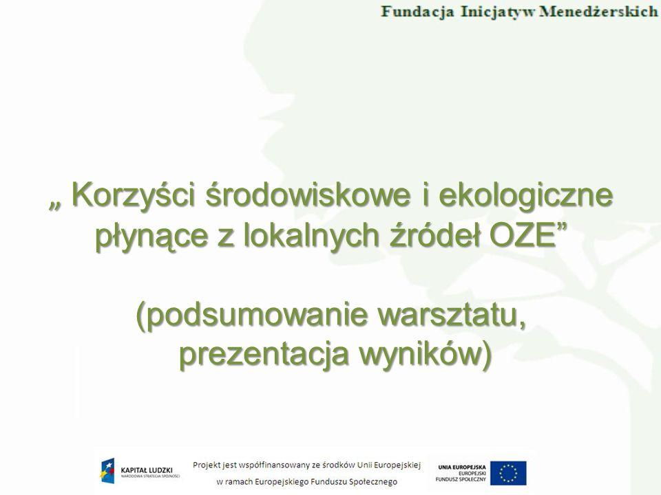 Korzyści środowiskowe i ekologiczne płynące z lokalnych źródeł OZE (podsumowanie warsztatu, Korzyści środowiskowe i ekologiczne płynące z lokalnych źr