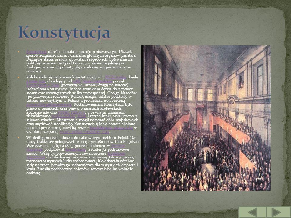 Konstytucja określa charakter ustroju państwowego. Ukazuje sposób zorganizowania i działania głównych organów państwa. Definiuje status prawny obywate