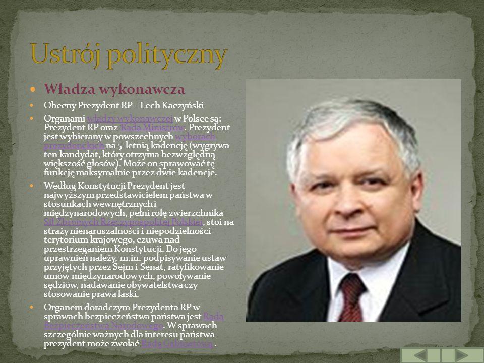 Władza wykonawcza Obecny Prezydent RP - Lech Kaczyński Organami władzy wykonawczej w Polsce są: Prezydent RP oraz Rada Ministrów. Prezydent jest wybie