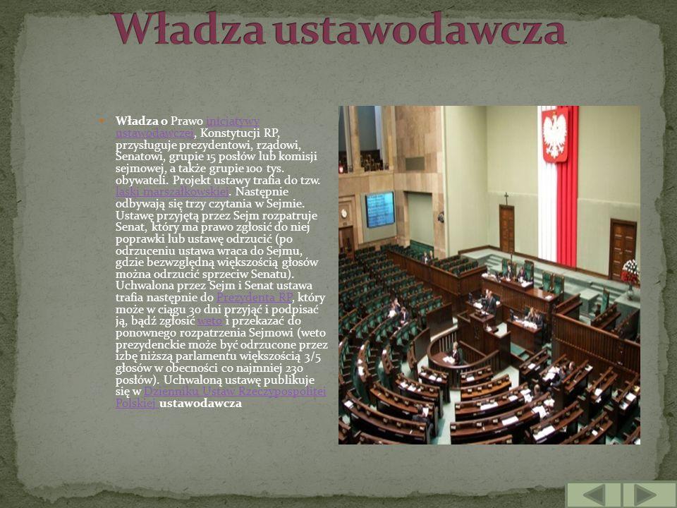 Władza o Prawo inicjatywy ustawodawczej, Konstytucji RP, przysługuje prezydentowi, rządowi, Senatowi, grupie 15 posłów lub komisji sejmowej, a także g