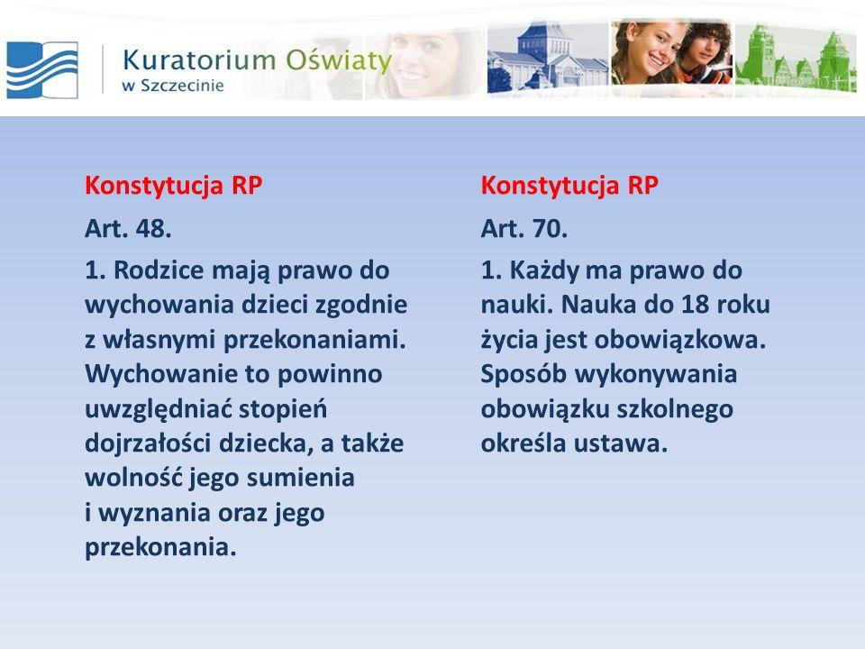 Konstytucja RP Art. 48. 1. Rodzice mają prawo do wychowania dzieci zgodnie z własnymi przekonaniami. Wychowanie to powinno uwzględniać stopień dojrzał