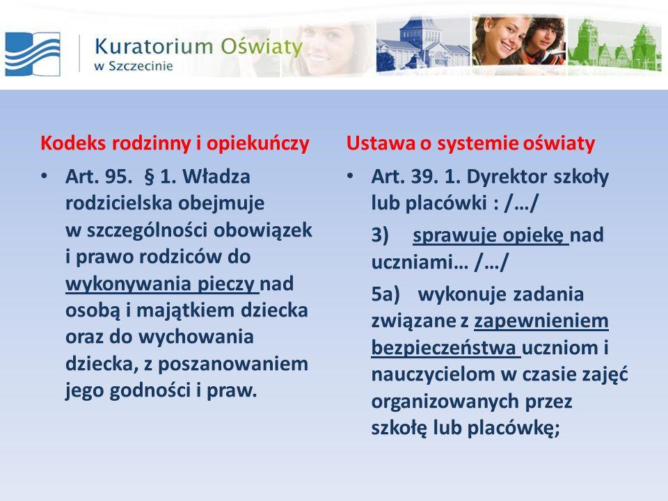 Kodeks rodzinny i opiekuńczyUstawa o systemie oświaty Art. 39. 1. Dyrektor szkoły lub placówki : /…/ 3)sprawuje opiekę nad uczniami… /…/ 5a) wykonuje
