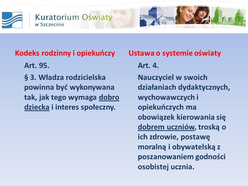 Kodeks rodzinny i opiekuńczy Art. 95. § 3. Władza rodzicielska powinna być wykonywana tak, jak tego wymaga dobro dziecka i interes społeczny. Ustawa o