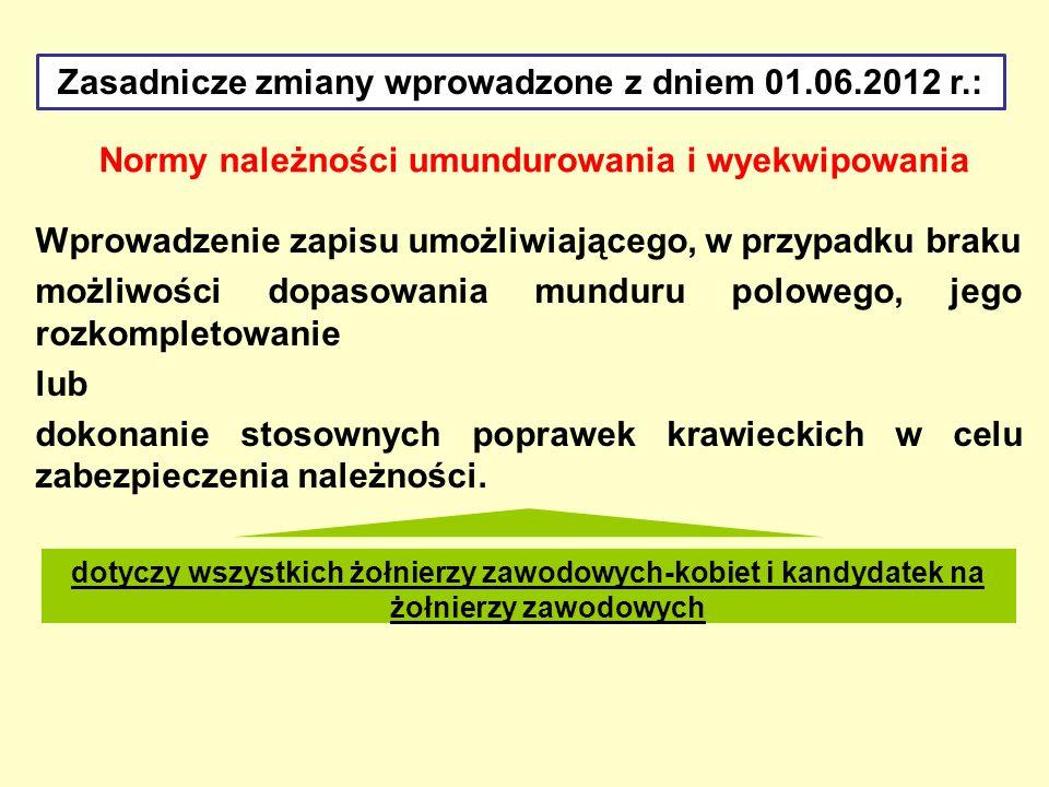 Zasadnicze zmiany wprowadzone z dniem 01.06.2012 r.: Normy należności umundurowania i wyekwipowania Wprowadzenie zapisu umożliwiającego, w przypadku b