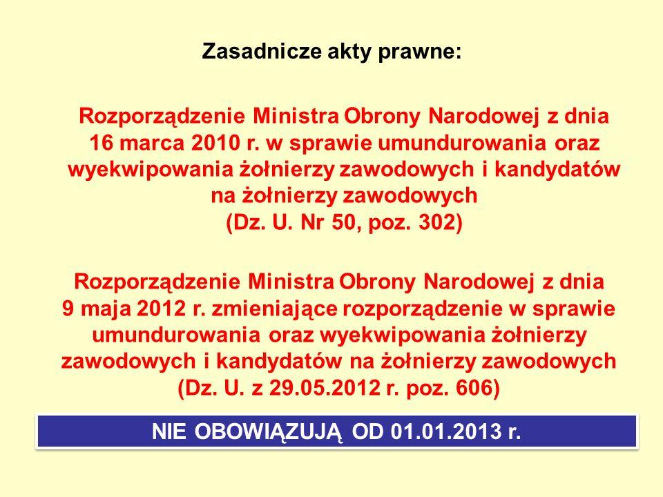 Równoważniki pieniężne w zamian za umundurowanie i wyekwipowanie Zasadnicze zmiany proponowane w 2013 r.