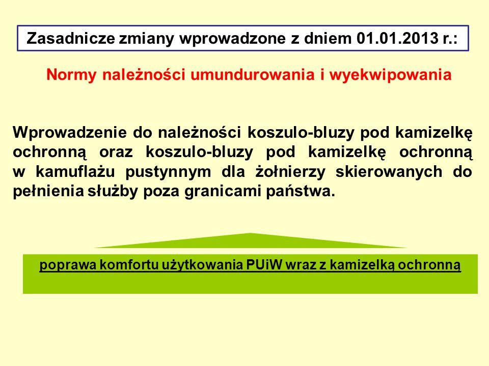 Zasadnicze zmiany wprowadzone z dniem 01.01.2013 r.: Normy należności umundurowania i wyekwipowania Wprowadzenie do należności koszulo-bluzy pod kamiz