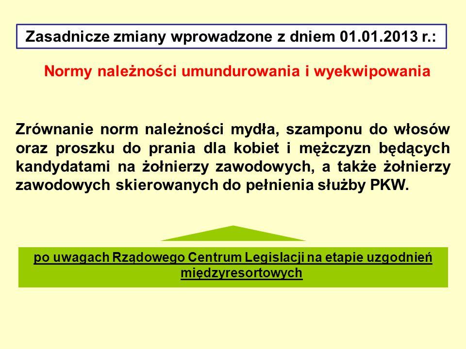 Zasadnicze zmiany wprowadzone z dniem 01.01.2013 r.: Normy należności umundurowania i wyekwipowania Zrównanie norm należności mydła, szamponu do włosó