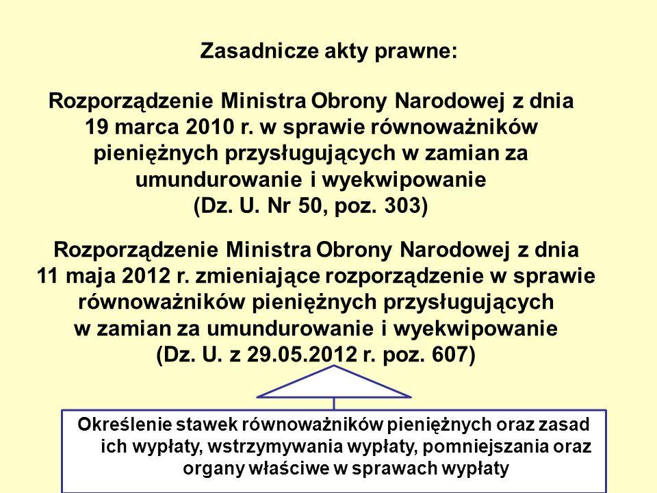 Zasadnicze akty prawne: Rozporządzenie Ministra Obrony Narodowej z dnia 19 marca 2010 r. w sprawie równoważników pieniężnych przysługujących w zamian