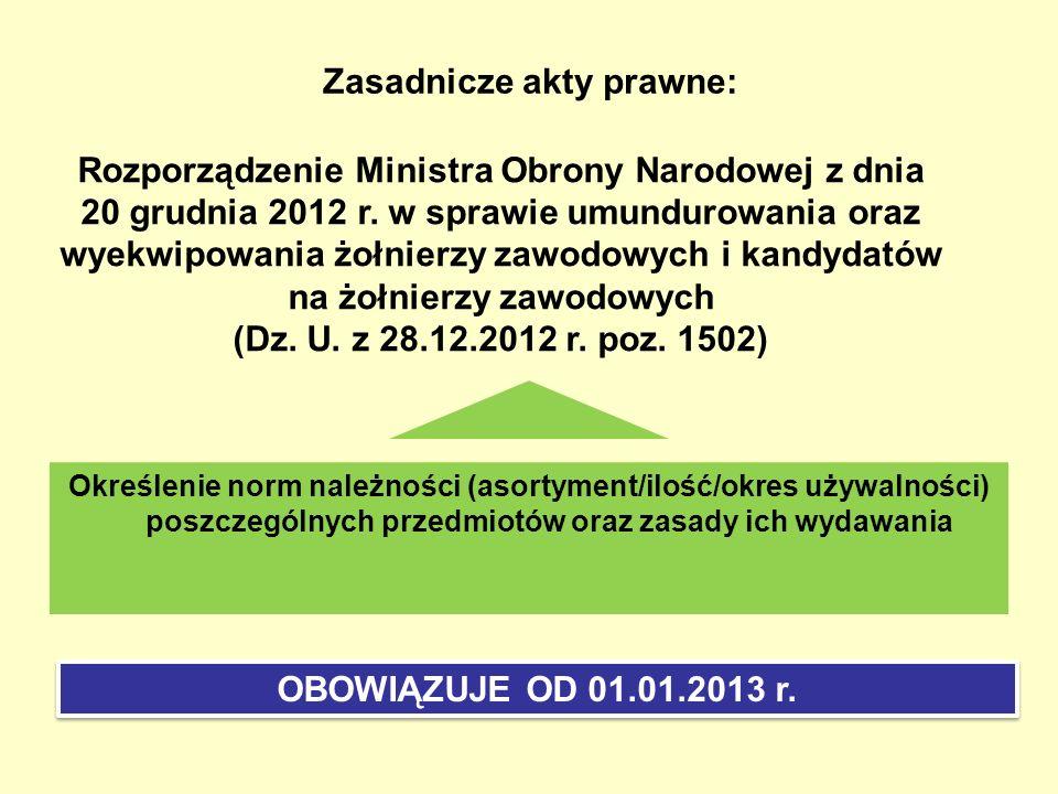 Zasadnicze akty prawne: Rozporządzenie Ministra Obrony Narodowej z dnia 20 grudnia 2012 r. w sprawie umundurowania oraz wyekwipowania żołnierzy zawodo