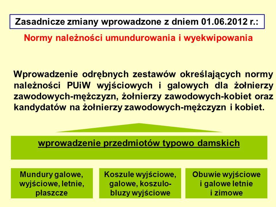 Normy należności umundurowania i wyekwipowania Zasadnicze zmiany wprowadzone z dniem 01.06.2012 r.: Skrócenie okresów używalności przedmiotów umundurowania oraz wyekwipowania starego wzoru wydawanych jako zamienniki.