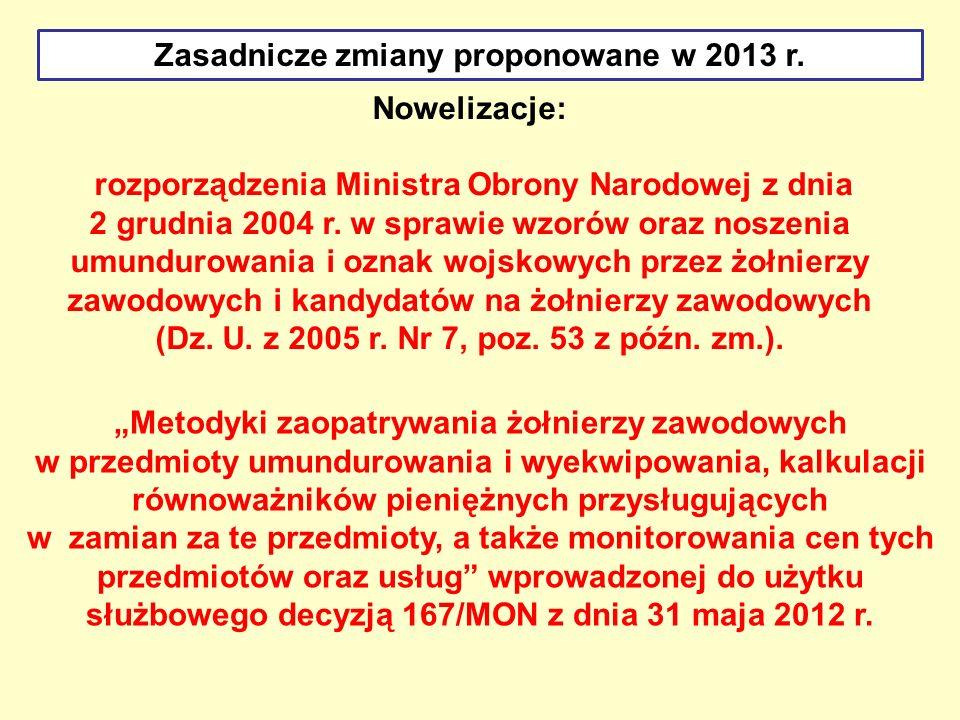 Nowelizacje: rozporządzenia Ministra Obrony Narodowej z dnia 2 grudnia 2004 r. w sprawie wzorów oraz noszenia umundurowania i oznak wojskowych przez ż