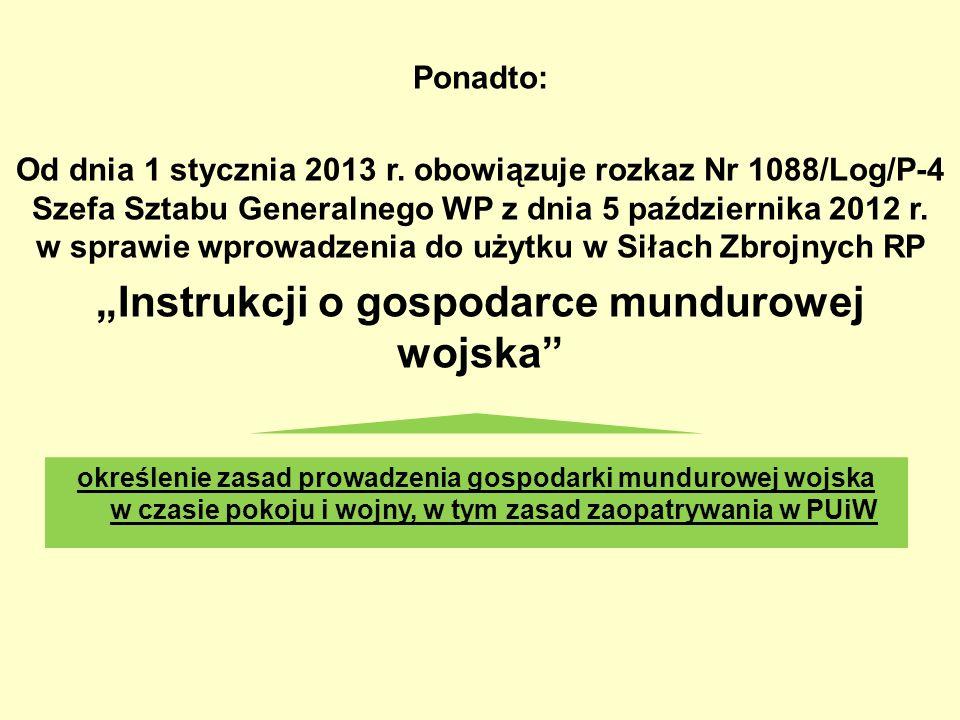 Ponadto: Od dnia 1 stycznia 2013 r. obowiązuje rozkaz Nr 1088/Log/P-4 Szefa Sztabu Generalnego WP z dnia 5 października 2012 r. w sprawie wprowadzenia