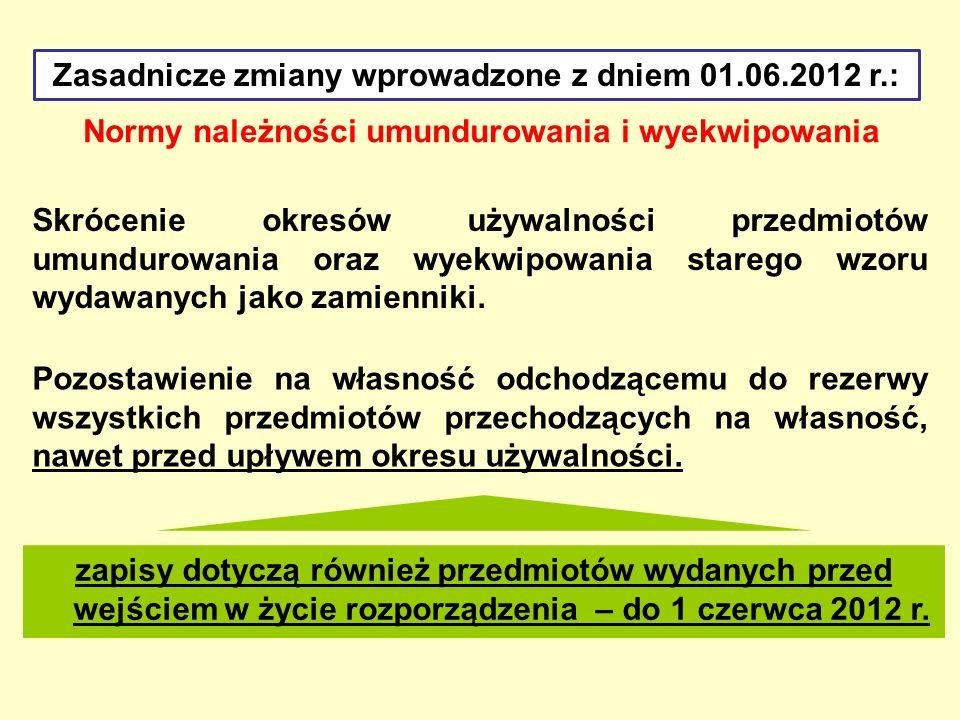 Normy należności umundurowania i wyekwipowania Zasadnicze zmiany wprowadzone z dniem 01.06.2012 r.: Wykreślenie przepisu zezwalającego na odpłatne przyjęcie od żołnierza zawodowego zwalnianego z zawodowej służby wojskowej nieużywanych PUiW, które przeszły na jego własność.